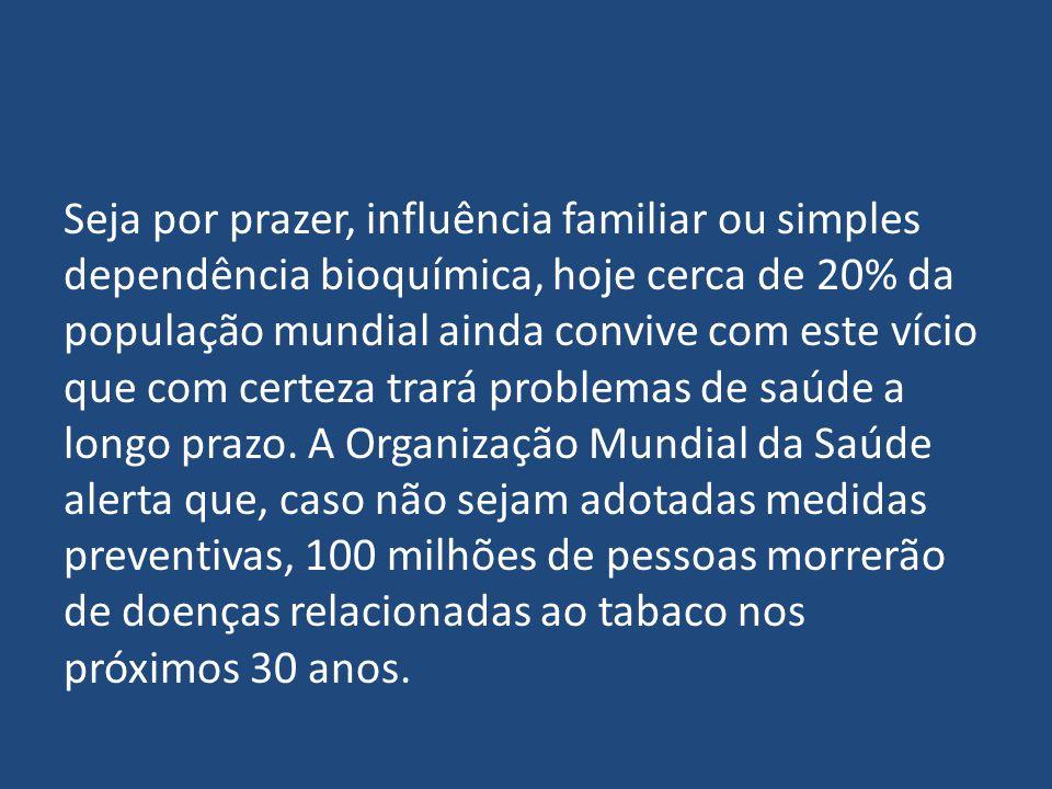 Seja por prazer, influência familiar ou simples dependência bioquímica, hoje cerca de 20% da população mundial ainda convive com este vício que com certeza trará problemas de saúde a longo prazo.