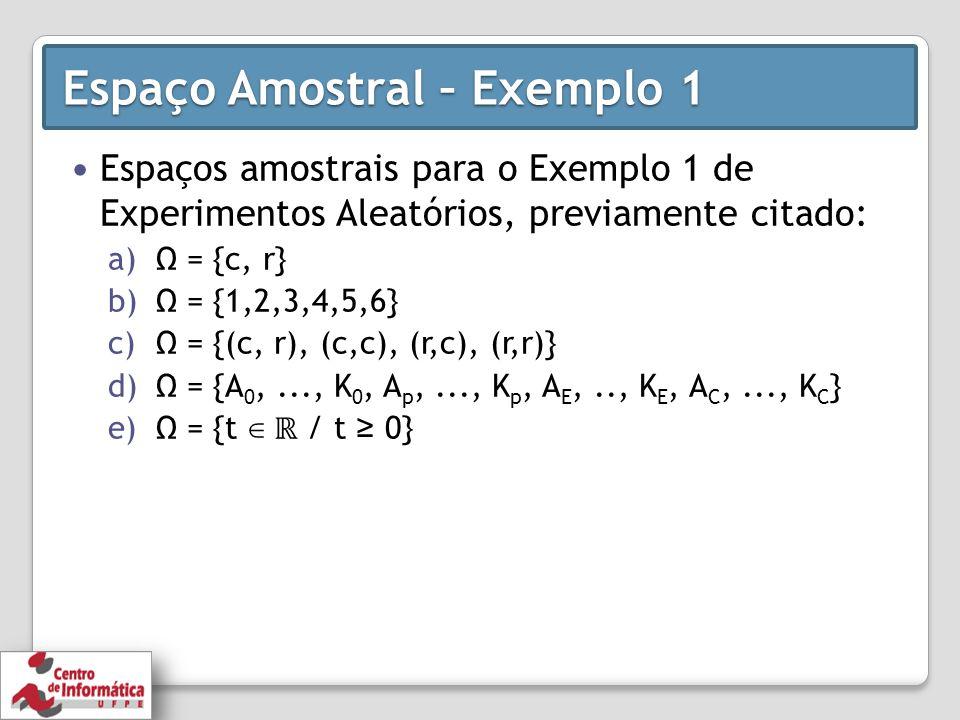 Espaço Amostral – Exemplo 1