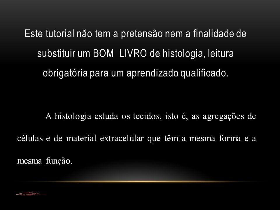 Este tutorial não tem a pretensão nem a finalidade de substituir um BOM LIVRO de histologia, leitura obrigatória para um aprendizado qualificado.