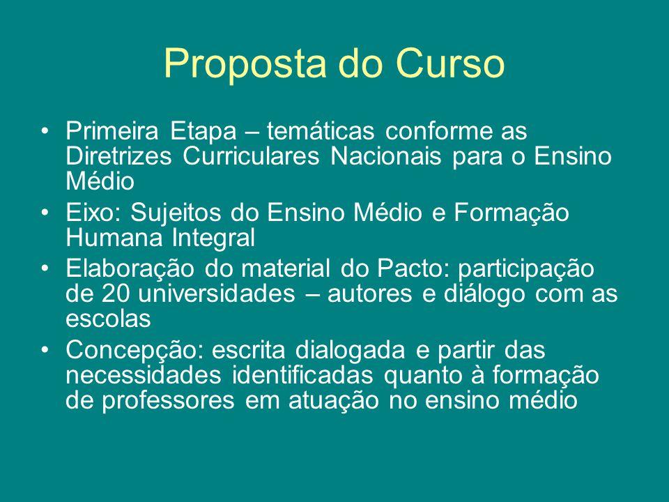 Proposta do Curso Primeira Etapa – temáticas conforme as Diretrizes Curriculares Nacionais para o Ensino Médio.