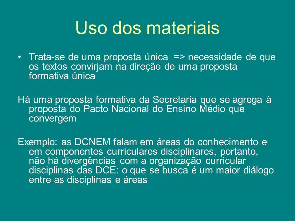 Uso dos materiais Trata-se de uma proposta única => necessidade de que os textos convirjam na direção de uma proposta formativa única.