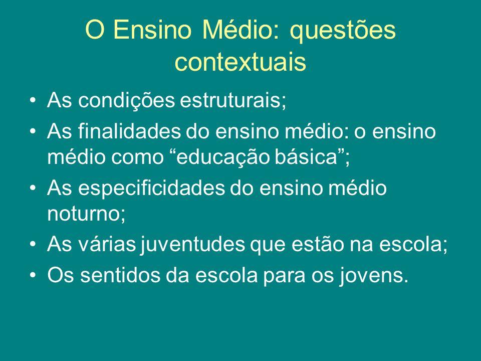 O Ensino Médio: questões contextuais