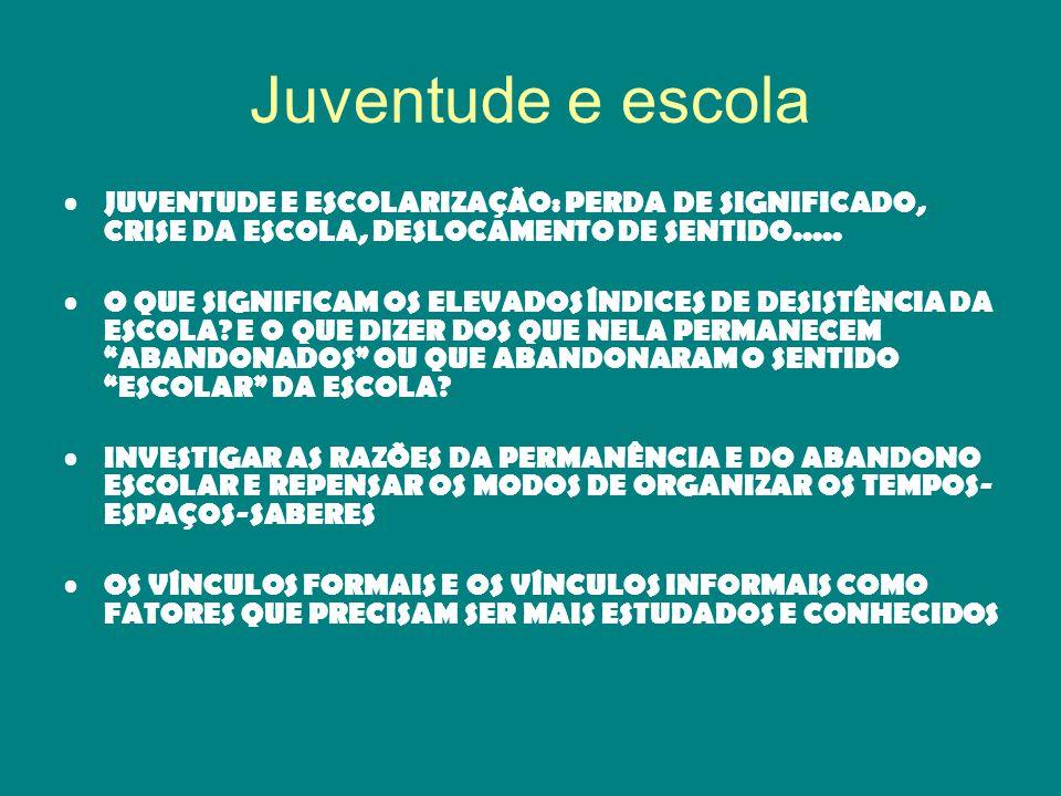 Juventude e escola JUVENTUDE E ESCOLARIZAÇÃO: PERDA DE SIGNIFICADO, CRISE DA ESCOLA, DESLOCAMENTO DE SENTIDO.....