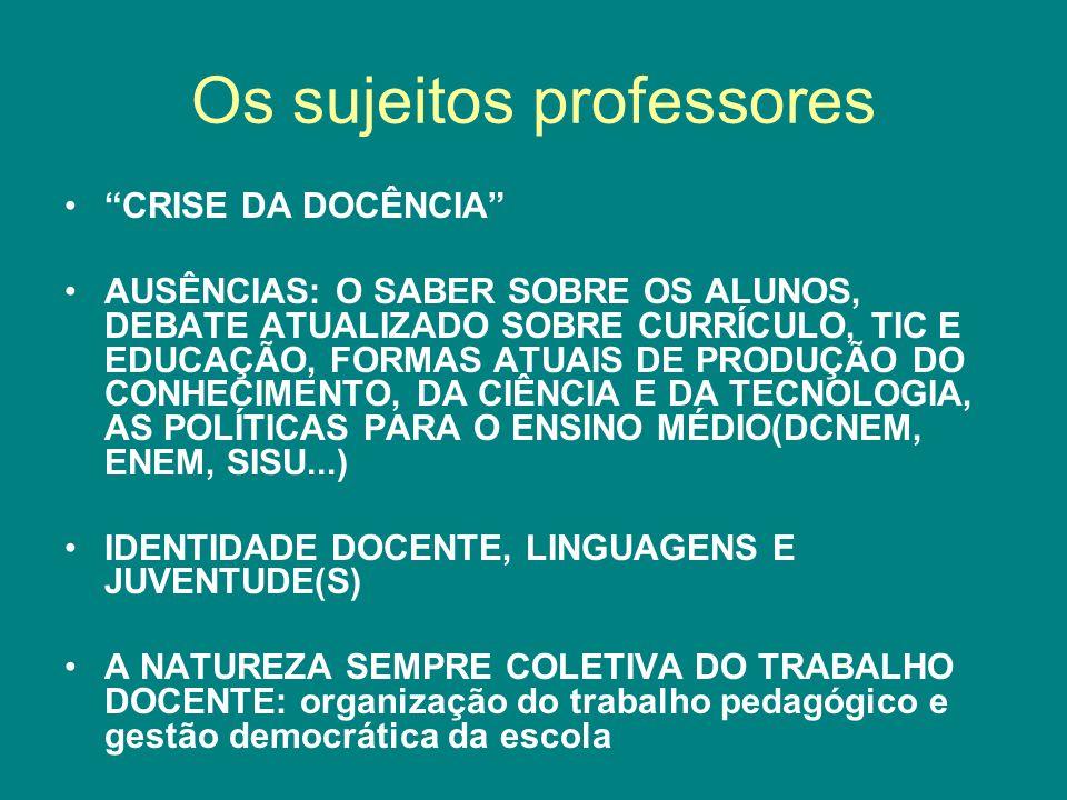 Os sujeitos professores
