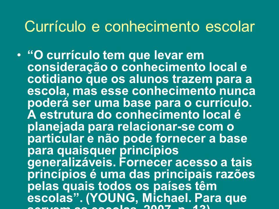 Currículo e conhecimento escolar