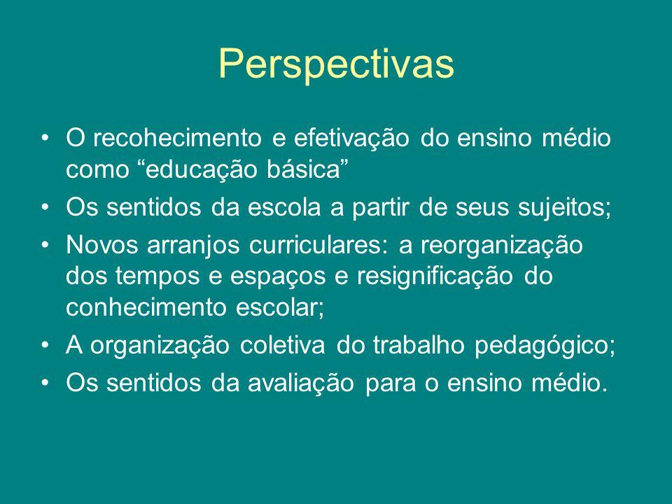Perspectivas O recohecimento e efetivação do ensino médio como educação básica Os sentidos da escola a partir de seus sujeitos;