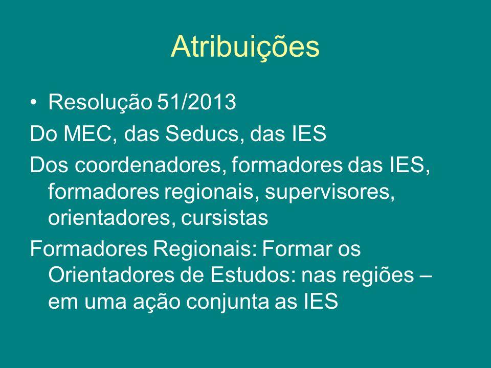 Atribuições Resolução 51/2013 Do MEC, das Seducs, das IES
