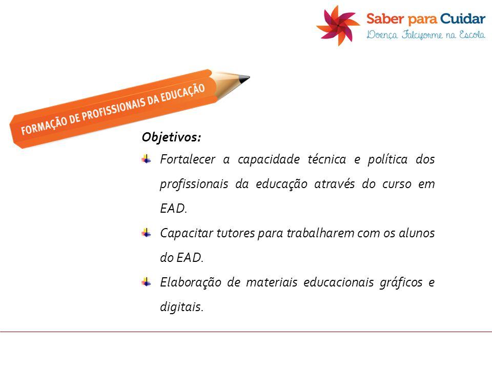 Objetivos: Fortalecer a capacidade técnica e política dos profissionais da educação através do curso em EAD.