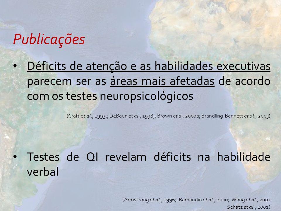 Publicações Déficits de atenção e as habilidades executivas parecem ser as áreas mais afetadas de acordo com os testes neuropsicológicos.