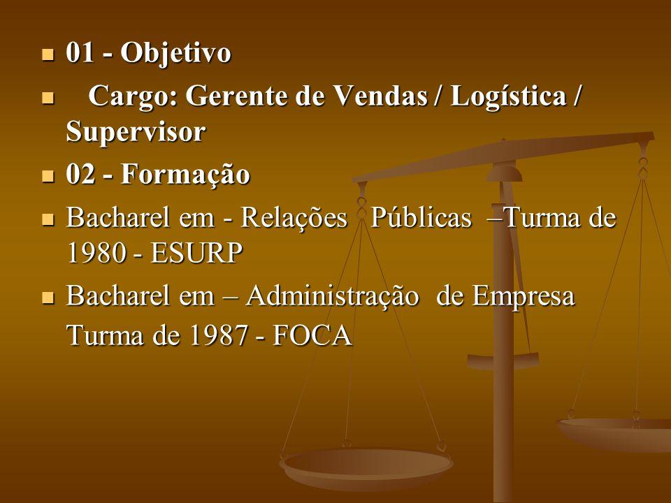 01 - Objetivo Cargo: Gerente de Vendas / Logística / Supervisor. 02 - Formação. Bacharel em - Relações Públicas –Turma de 1980 - ESURP.