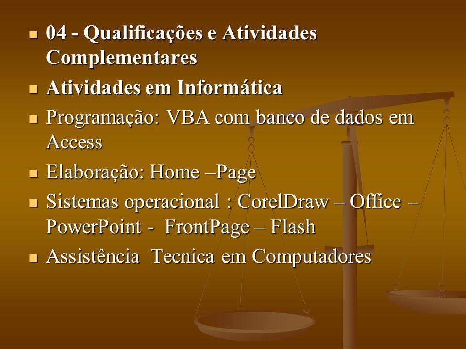 04 - Qualificações e Atividades Complementares