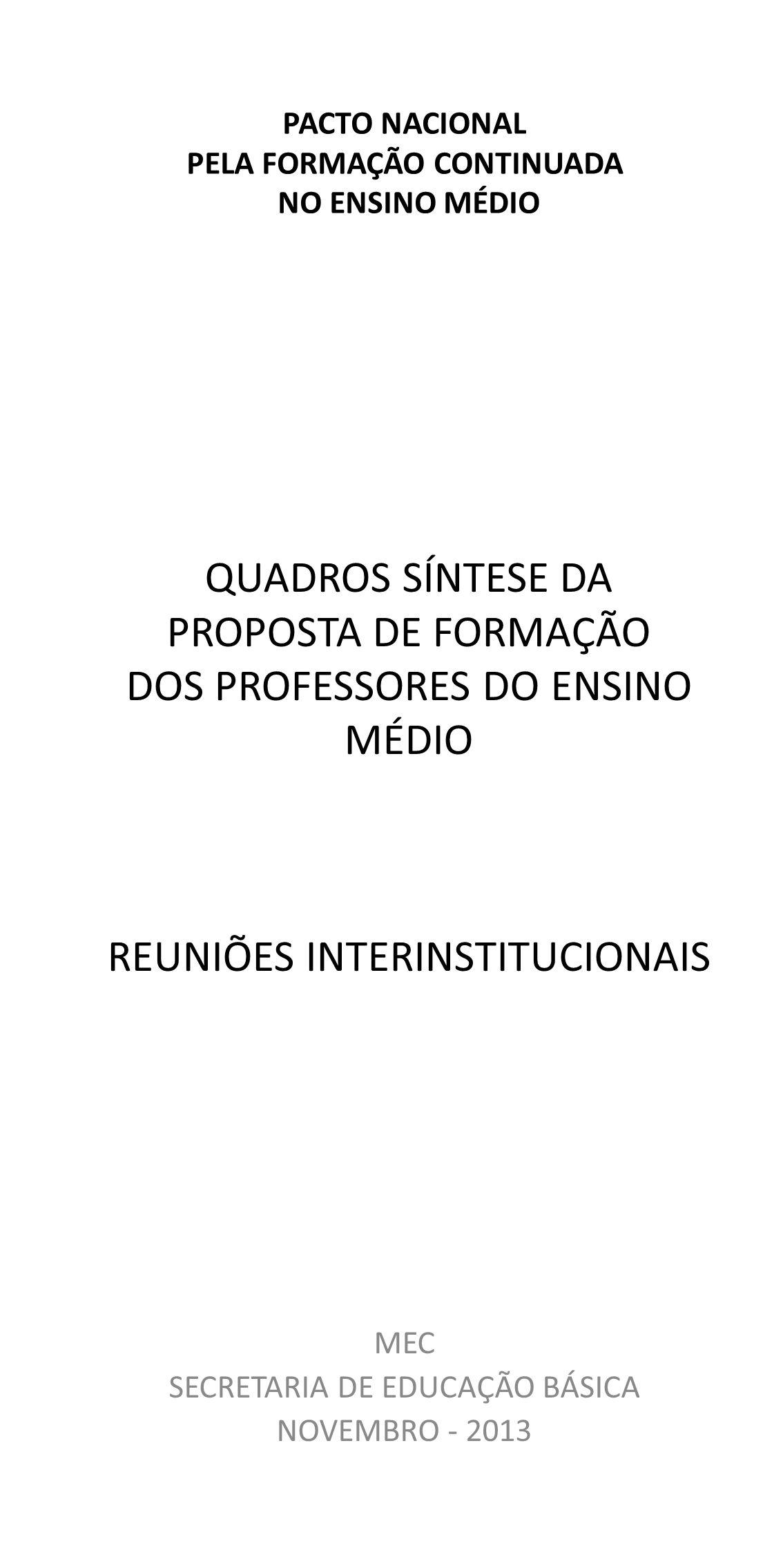 MEC SECRETARIA DE EDUCAÇÃO BÁSICA NOVEMBRO - 2013