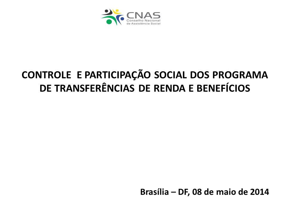 CONTROLE E PARTICIPAÇÃO SOCIAL DOS PROGRAMA DE TRANSFERÊNCIAS DE RENDA E BENEFÍCIOS
