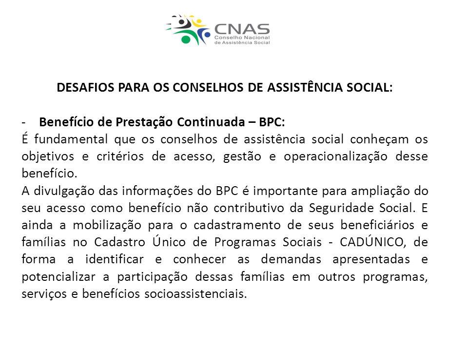 DESAFIOS PARA OS CONSELHOS DE ASSISTÊNCIA SOCIAL:
