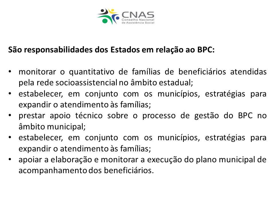 São responsabilidades dos Estados em relação ao BPC:
