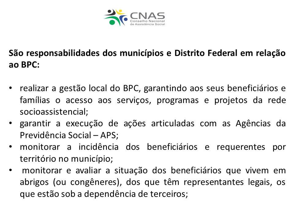 São responsabilidades dos municípios e Distrito Federal em relação ao BPC: