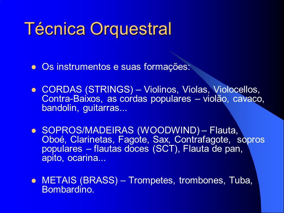 Técnica Orquestral Os instrumentos e suas formações:
