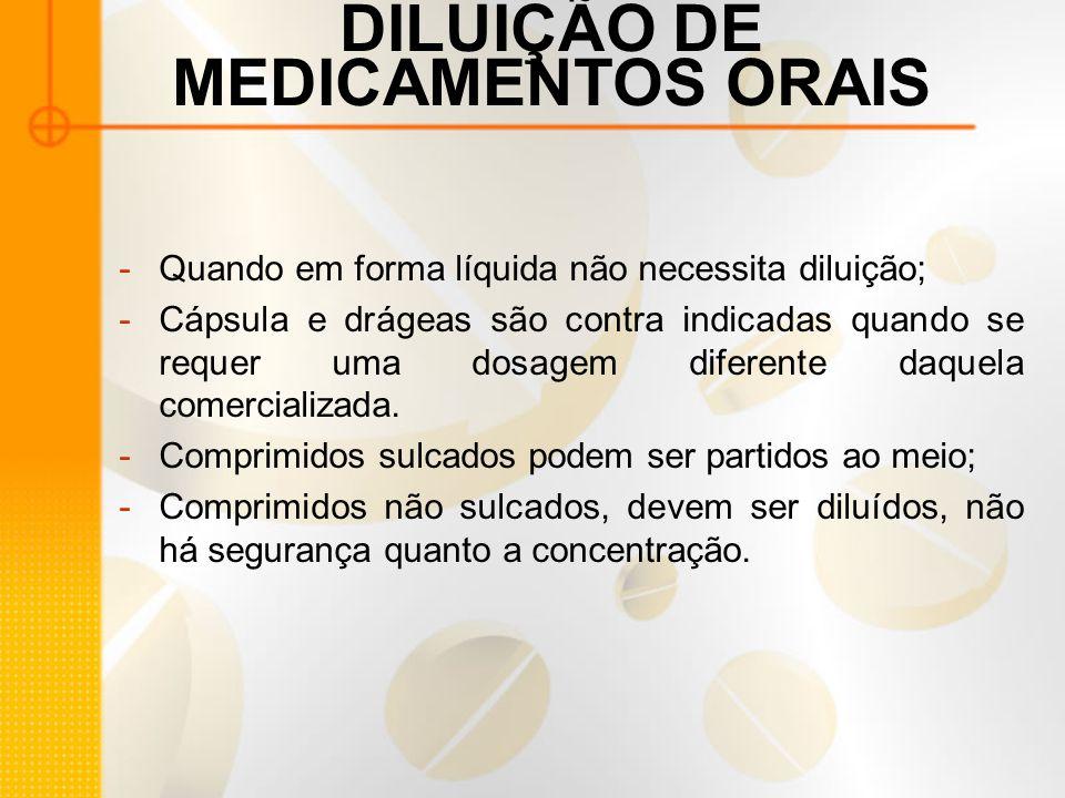 DILUIÇÃO DE MEDICAMENTOS ORAIS