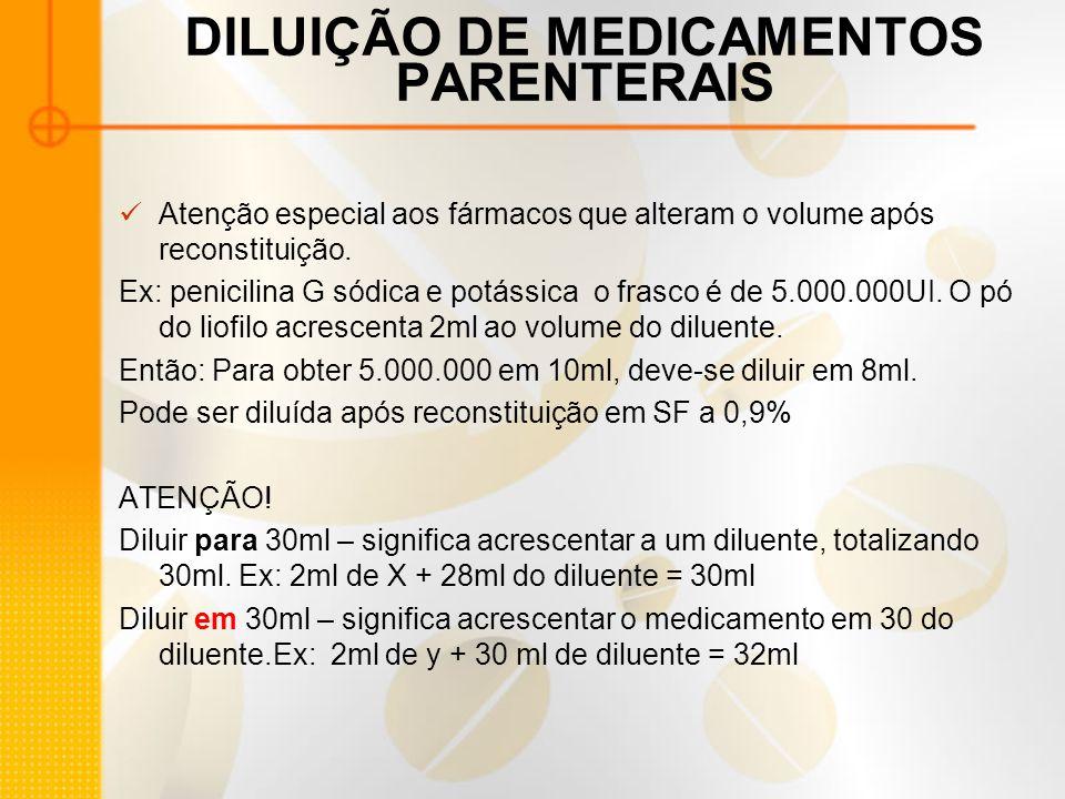 DILUIÇÃO DE MEDICAMENTOS PARENTERAIS