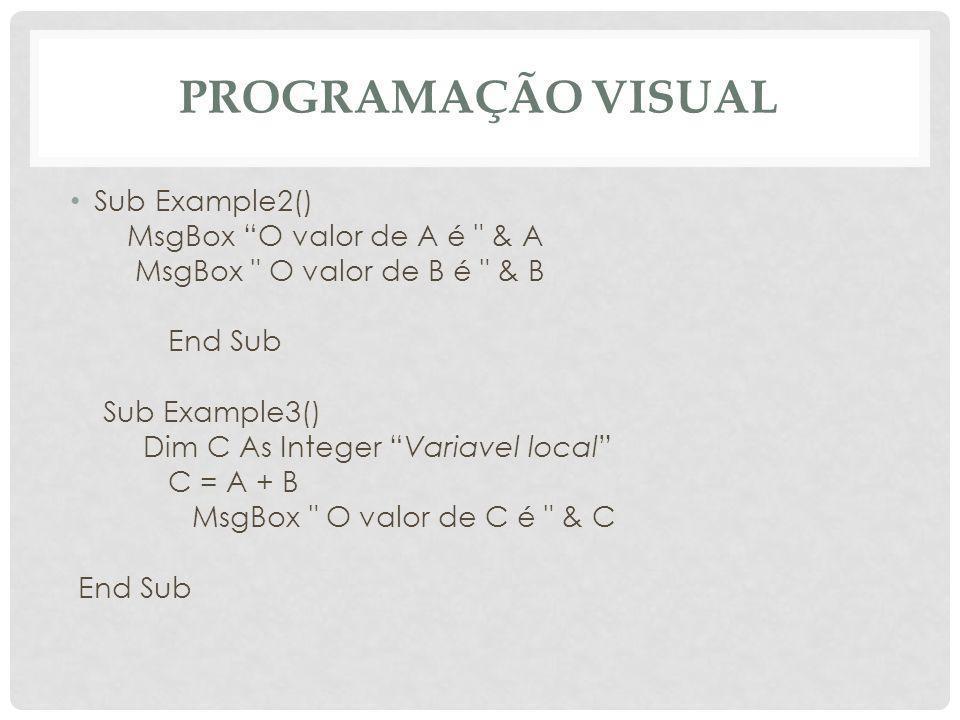 Programação Visual Sub Example2() MsgBox O valor de A é & A