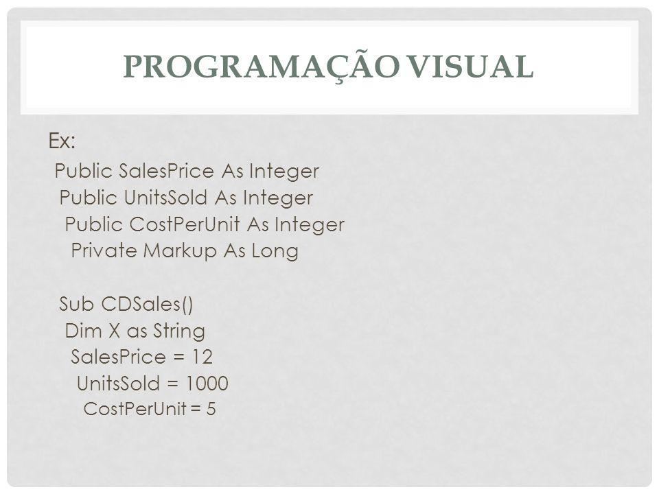 Programação Visual Ex: Public SalesPrice As Integer