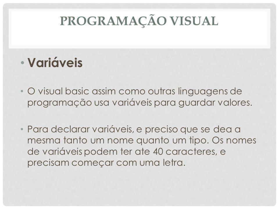 Programação Visual Variáveis
