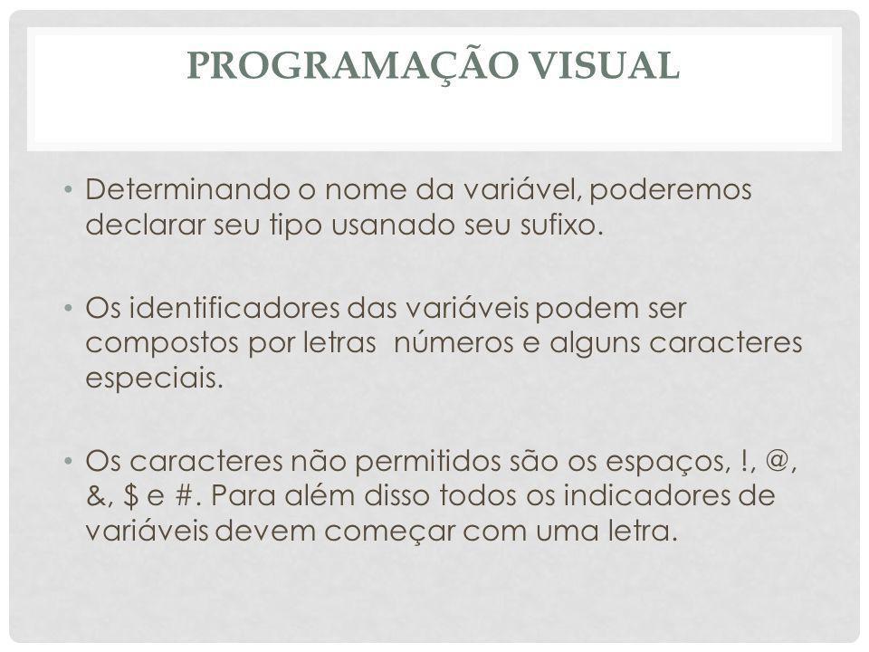 Programação Visual Determinando o nome da variável, poderemos declarar seu tipo usanado seu sufixo.