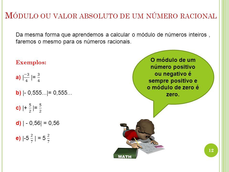 Módulo ou valor absoluto de um número racional