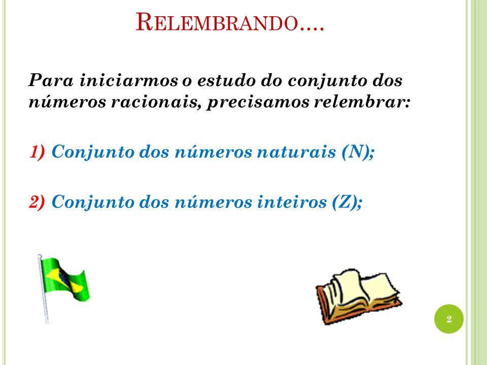 Relembrando.... Para iniciarmos o estudo do conjunto dos números racionais, precisamos relembrar: 1) Conjunto dos números naturais (N);