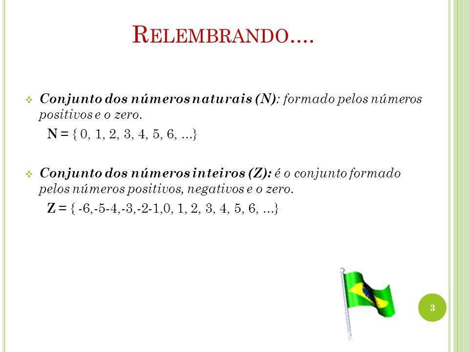 Relembrando.... Conjunto dos números naturais (N): formado pelos números positivos e o zero. N = { 0, 1, 2, 3, 4, 5, 6, ...}