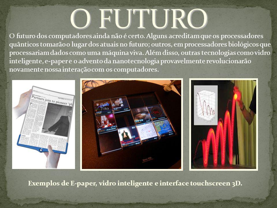 Exemplos de E-paper, vidro inteligente e interface touchscreen 3D.