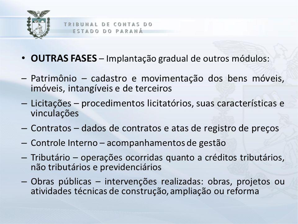 OUTRAS FASES – Implantação gradual de outros módulos: