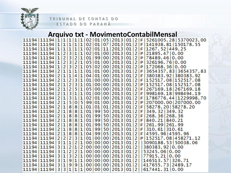 Arquivo txt - MovimentoContabilMensal