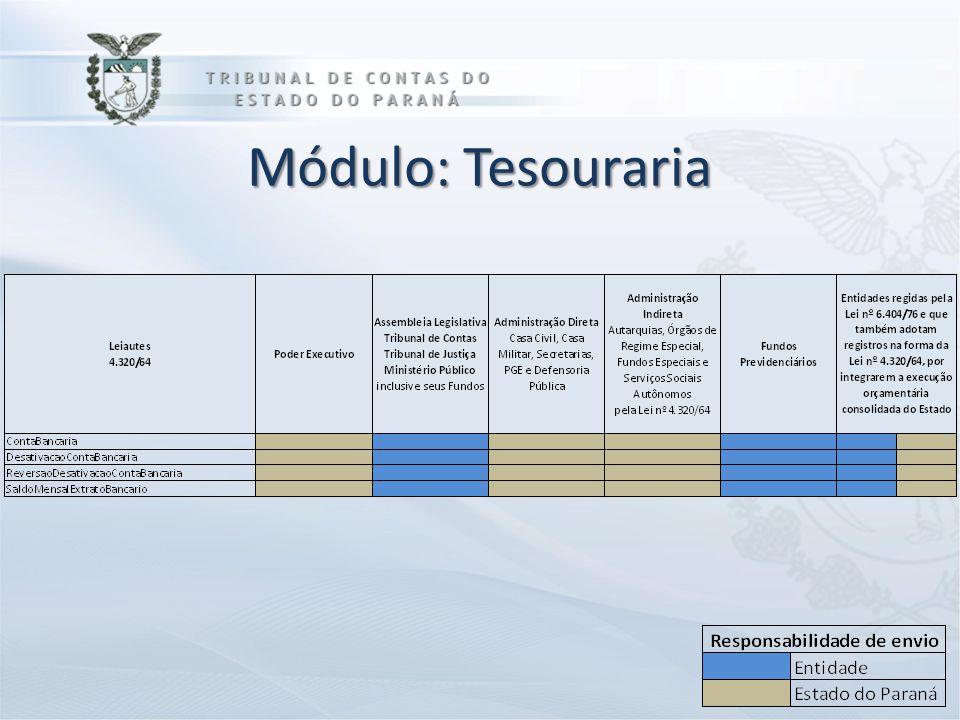 DIRETORIA DE CONTAS ESTADUAIS Módulo: Tesouraria
