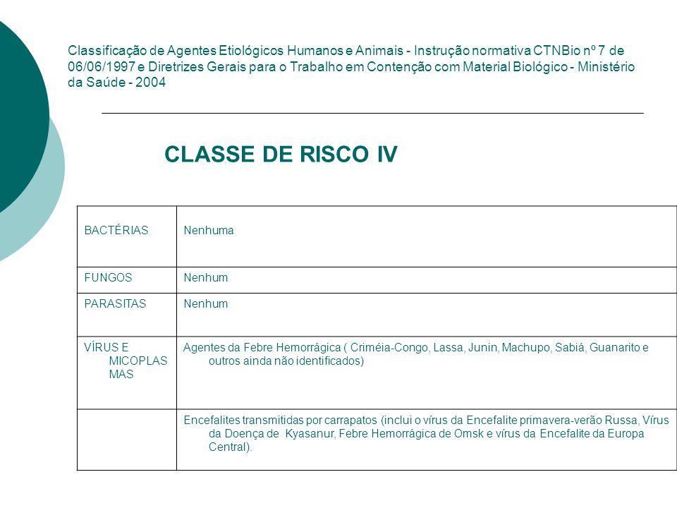 Classificação de Agentes Etiológicos Humanos e Animais - Instrução normativa CTNBio nº 7 de 06/06/1997 e Diretrizes Gerais para o Trabalho em Contenção com Material Biológico - Ministério da Saúde - 2004