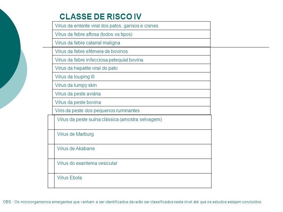CLASSE DE RISCO IV Vírus da enterite viral dos patos, gansos e cisnes