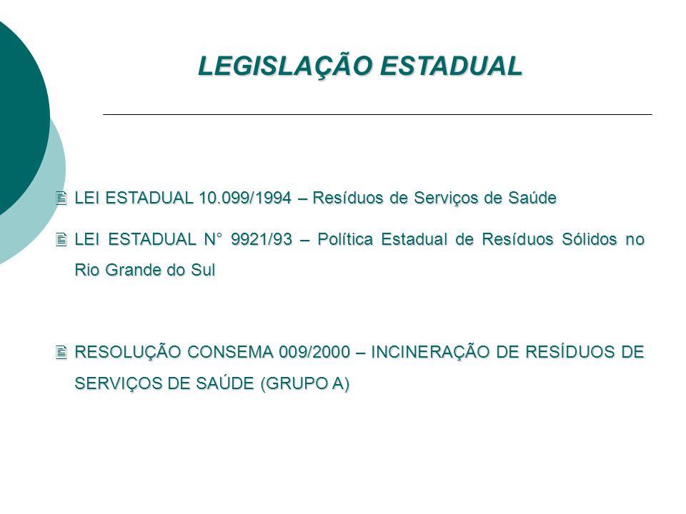 LEGISLAÇÃO ESTADUAL LEI ESTADUAL 10.099/1994 – Resíduos de Serviços de Saúde.