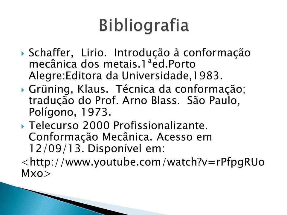 Bibliografia Schaffer, Lirio. Introdução à conformação mecânica dos metais.1ªed.Porto Alegre:Editora da Universidade,1983.