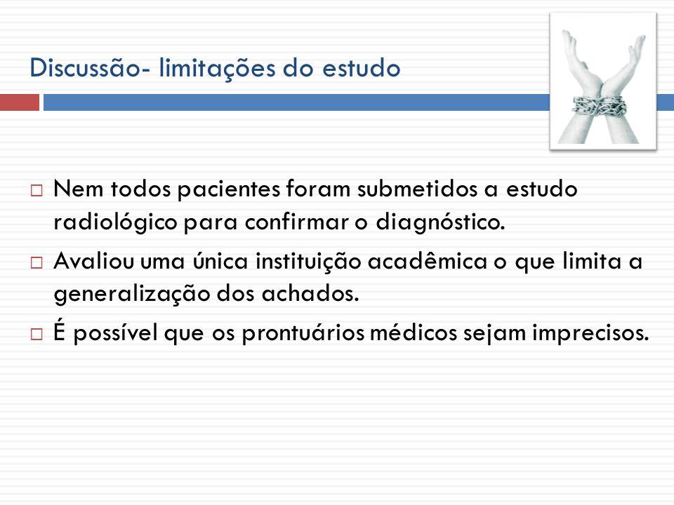 Discussão- limitações do estudo