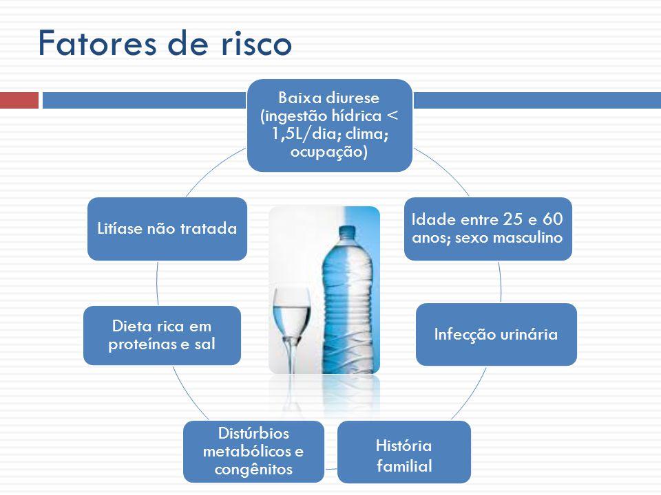 Fatores de risco Baixa diurese (ingestão hídrica < 1,5L/dia; clima; ocupação) Idade entre 25 e 60 anos; sexo masculino.
