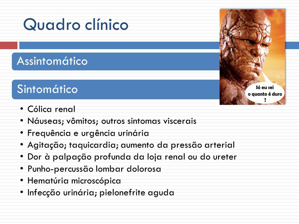 Quadro clínico Assintomático Sintomático Cólica renal