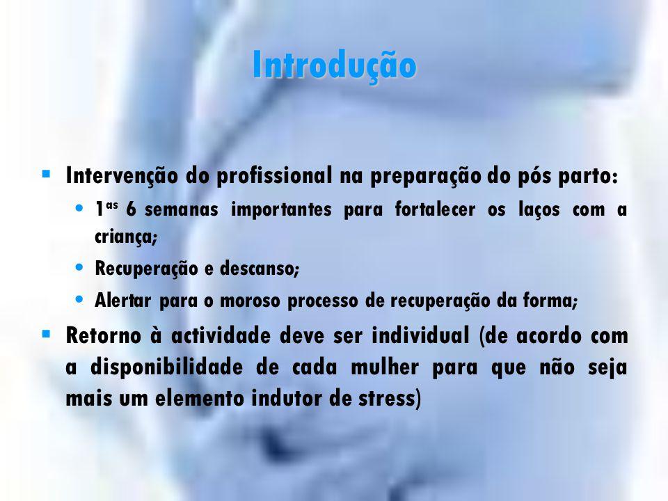 Introdução Intervenção do profissional na preparação do pós parto: