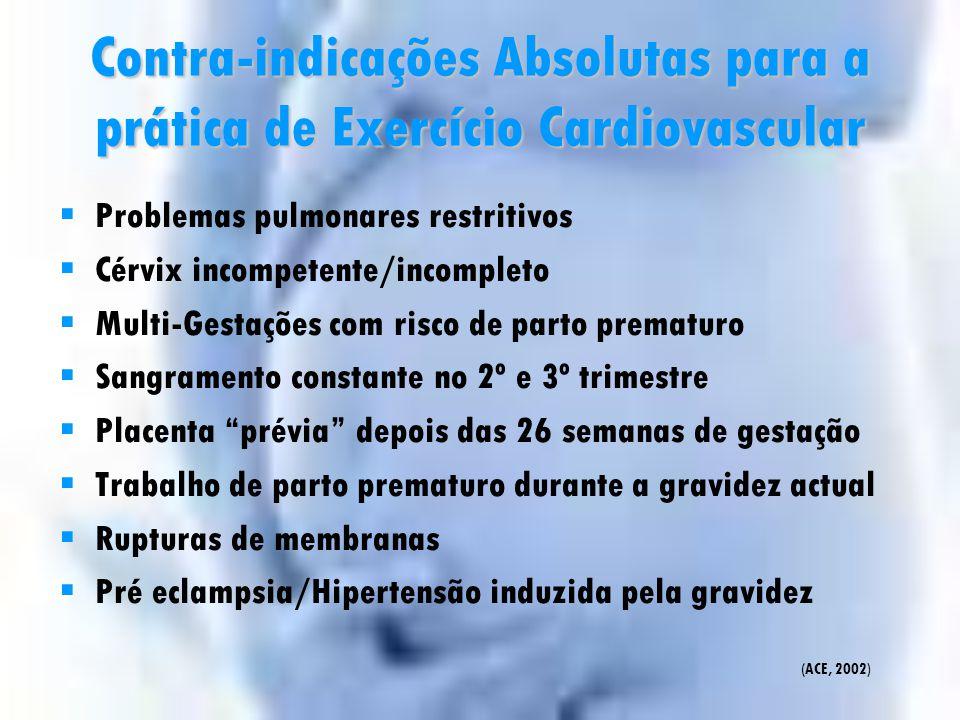 Contra-indicações Absolutas para a prática de Exercício Cardiovascular
