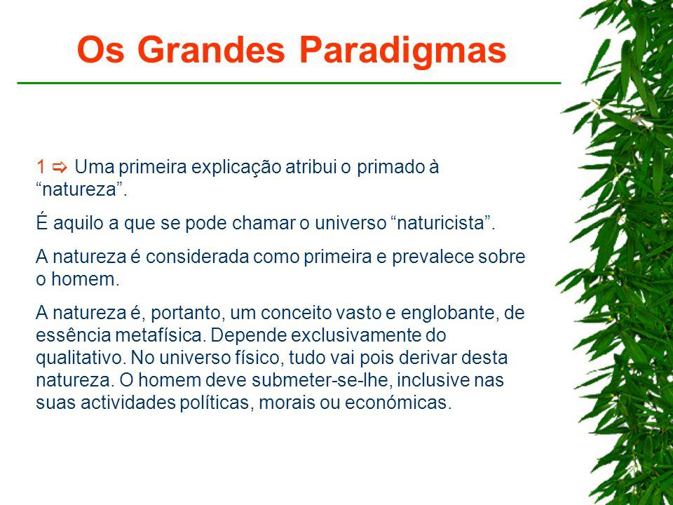 Os Grandes Paradigmas 1  Uma primeira explicação atribui o primado à natureza . É aquilo a que se pode chamar o universo naturicista .