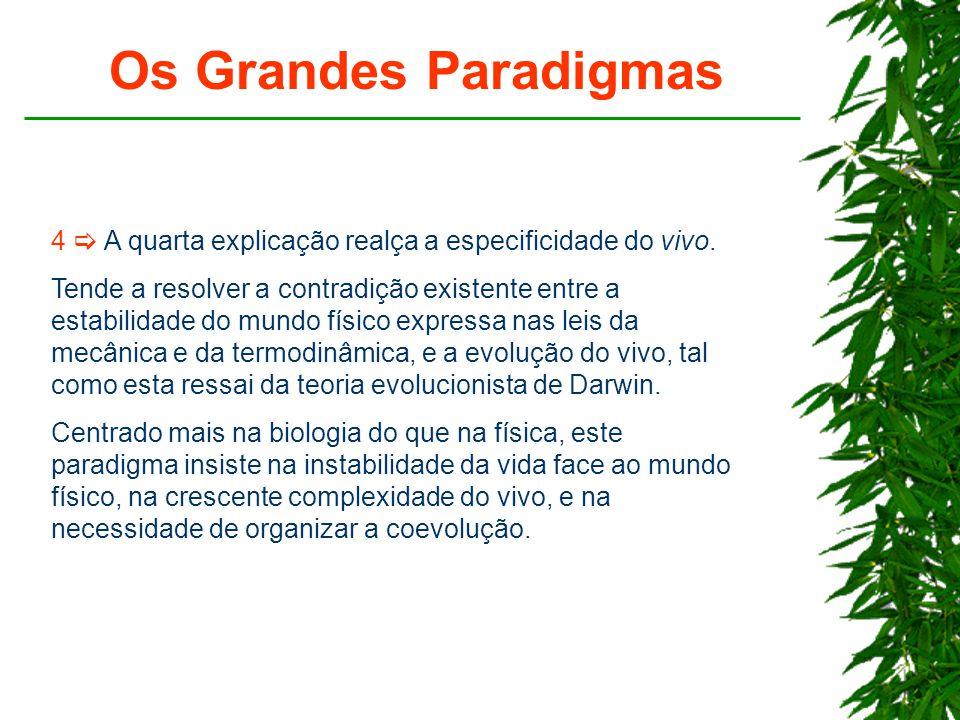 Os Grandes Paradigmas 4  A quarta explicação realça a especificidade do vivo.