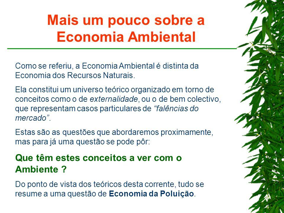 Mais um pouco sobre a Economia Ambiental