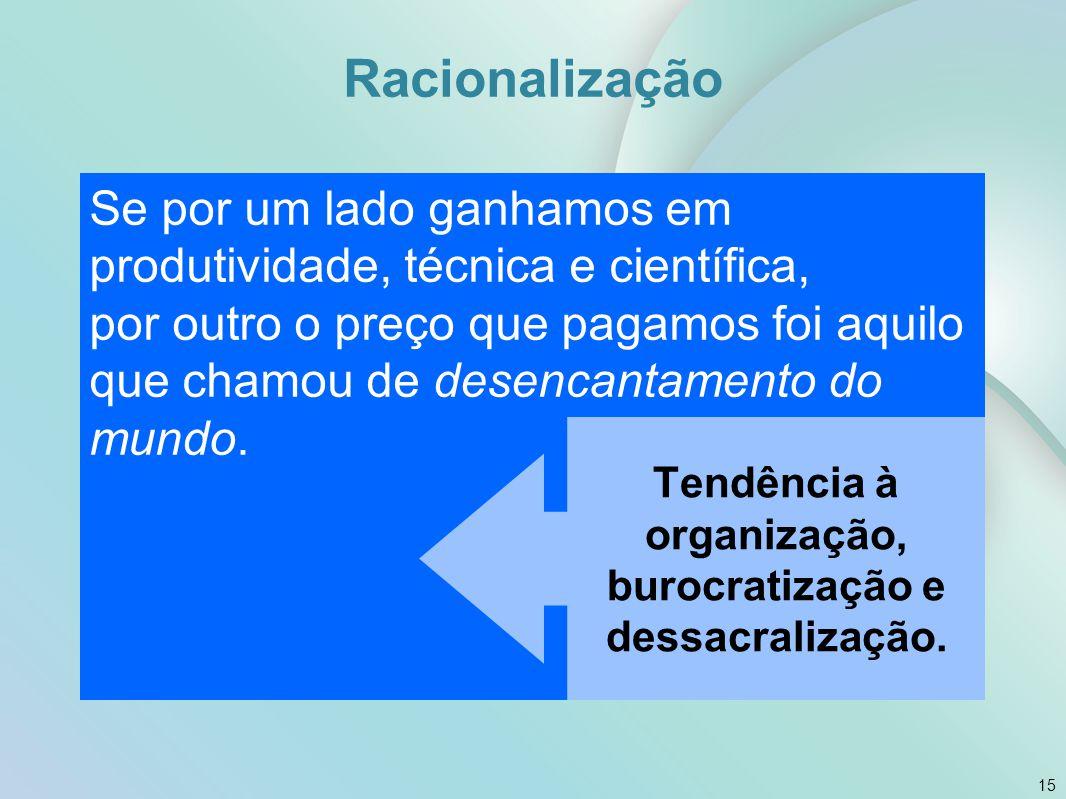 Tendência à organização, burocratização e dessacralização.