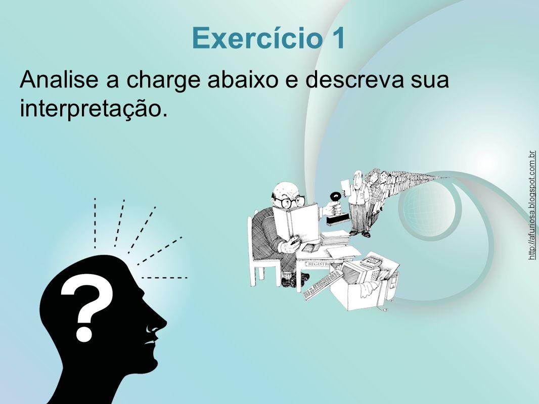 Exercício 1 Analise a charge abaixo e descreva sua interpretação.