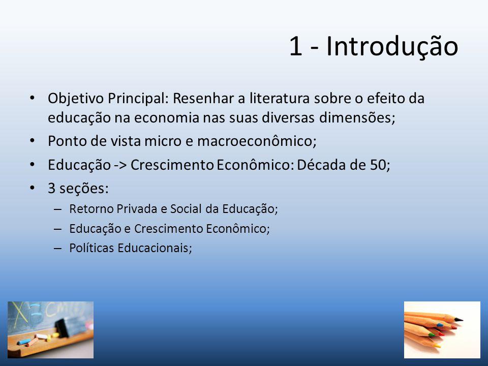 1 - Introdução Objetivo Principal: Resenhar a literatura sobre o efeito da educação na economia nas suas diversas dimensões;