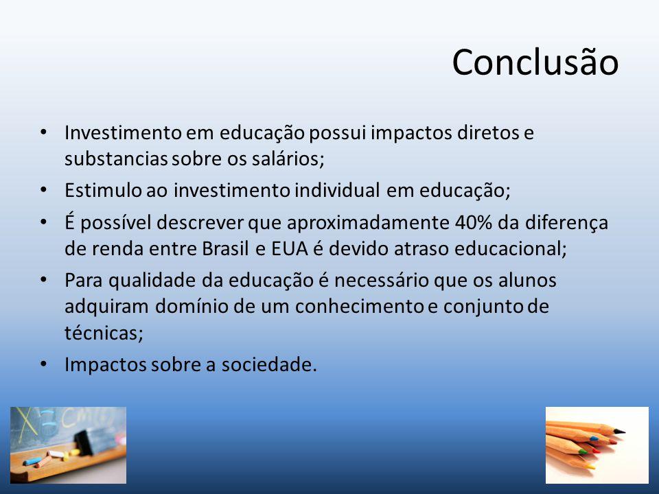 Conclusão Investimento em educação possui impactos diretos e substancias sobre os salários; Estimulo ao investimento individual em educação;